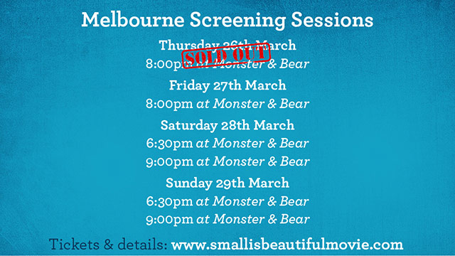 Melbourne screening small is beautiful
